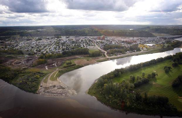 An aerial view of downtown Fort McMurray on Sept. 19, 2011.