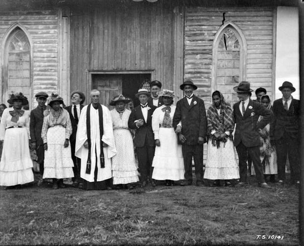 An Indigenous wedding at York Factory, Man. 1925.