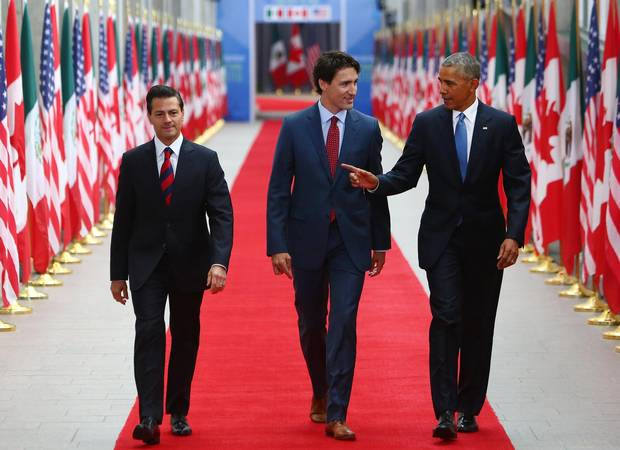 Enrique Pena Nieto, Mexico's president, Justin Trudeau, Canada's prime minister, and U.S. President Barack Obama arrive at the National Gallery of Canada for the North American Leaders Summit in Ottawa in June.