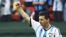 Argentina's Lionel Messi celebrates his second goal during the 2014 World Cup Group F soccer match against Nigeria at the Beira Rio stadium in Porto Alegre June 25, 2014. (STEFANO RELLANDINI/REUTERS)