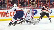 Ottawa Senators centre Kyle Turris (7) scores on Washington Capitals goalie Philipp Grubauer (31) in the second period at the Canadian Tire Centre.Sports (MARC DESROSIERS/USA TODAY SPORTS)
