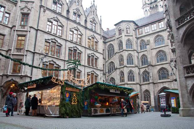 Marienplatz is host to Christkindlmarkt's main section.
