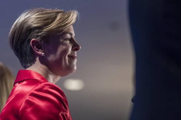 Conservative leadership candidate Kellie Leitch listens during the Conservative leadership debate in Saskatoon on Nov. 9, 2016.