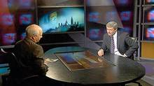 Prime Minister Stephen Harper, right, speaks with the CBC's Peter Mansbridge on Tuesday.