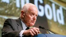 Peter Munk, chairman of Barrick Gold Corp, the world's largest gold producer, speaks during the annual general meeting of shareholders in Toronto April 28, 2010. (MIKE CASSESE)