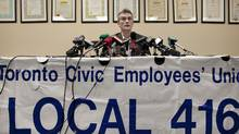 Mark Ferguson, president of CUPE Local 416, responds to an announcement by Toronto Mayor Rob Ford of plans to privatize garbage collection at a news conference February 7, 2011. (Moe Doiron/The Globe and Mail/Moe Doiron/The Globe and Mail)