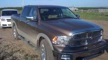 This Dodge Ram pickup truck was stolen in Grande Prairie, Alta., on Tuesday with baby Addison, seven months old, still inside. (HANDOUT/THE CANADIAN PRESS)