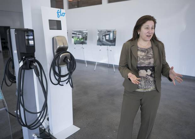 Along with showroom models of electric vehicles that visitors can actually test-drive, Plug'n Drive's new experiential showroom also has electric chargers for show – and for sale.
