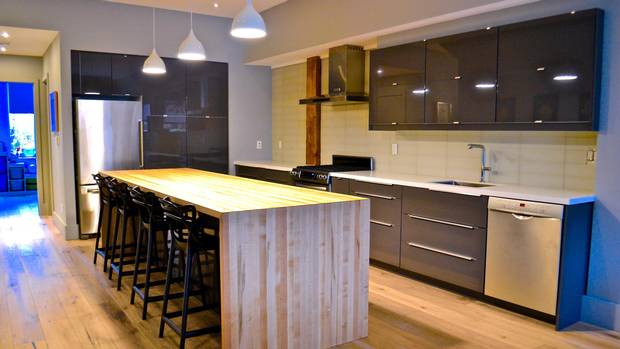The kitchen takes pride of place on the second floor.