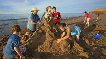 Local artist Maruice Bernard helps park visitors create outstanding sandcastles on PEI's red beaches. (John Sylvester Photography/John Sylvester Photography)