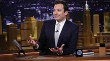 This Tuesday, Feb. 18, 2014 photo shows host Jimmy Fallon during The Tonight Show Starring Jimmy Fallon in New York. (Lloyd Bishop/AP)