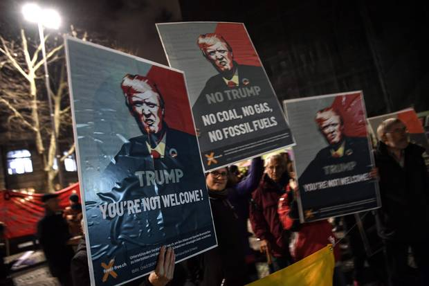 Jan. 23, 2018: Protesters rally in central Zurich to speak out against Donald Trump's visit to the Davos summit.
