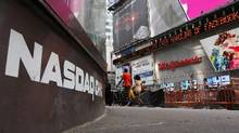 The Nasdaq logo is seen on the exterior of the Nasdaq MarketSite in Times Square. (Brendan McDermid/Reuters)
