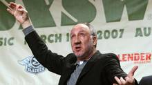 The Who's Pete Townshend acts out playing the guitar during his keynote conversation at the South by Southwest Music Festival in Austin, Texas on Wednesday, March 14, 2007 (JACK PLUNKETT/AP)