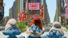 "Grouchy, Papa and Clumsy Smurf in a scene from ""The Smurfs"" (Courtesy of Sony Pictures)"