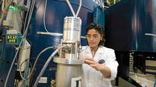 Zahra Yamani, NRC-CNBC staff scientist working at the C5 neutron spectrometer at Chalk River. The C5 spectrometer is used to study superconductivity and magnetic properties of materials. (National Research Council/National Research Council)