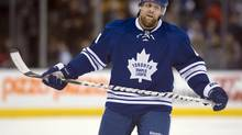 Toronto Maple Leafs right winger Phil Kessel reacts near the end of the Leafs loss to the Boston Bruins in NHL action in Toronto on Saturday February 2, 2013. (Frank Gunn/THE CANADIAN PRESS)