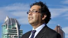 Calgary Mayor Naheed Nenshi is photographed the day after his nomination with the city of Calagry in the background on Tuesday, October 19, 2010. (Chris Bolin/Chris Bolin for The Globe and Mail)