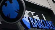 A logo of Barclays bank is seen outside a branch in Altrincham, northern England April 26, 2012. (PHIL NOBLE/REUTERS)