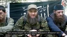 Screen shot of a video of Doku Umarov.