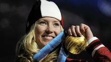 Ashleigh McIvor in the medal ceremony for the women's ski cross freestyle skiing competition at the Vancouver 2010 Winter Olympics. (DYLAN MARTINEZ/REUTERS)