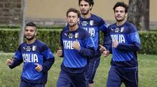 Italy's national soccer team players Lorenzo Insigne, Claudio Marchisio, Andrea Ranocchia and Marco Parolo during a training session (GIAMPIERO SPOSITO/REUTERS)