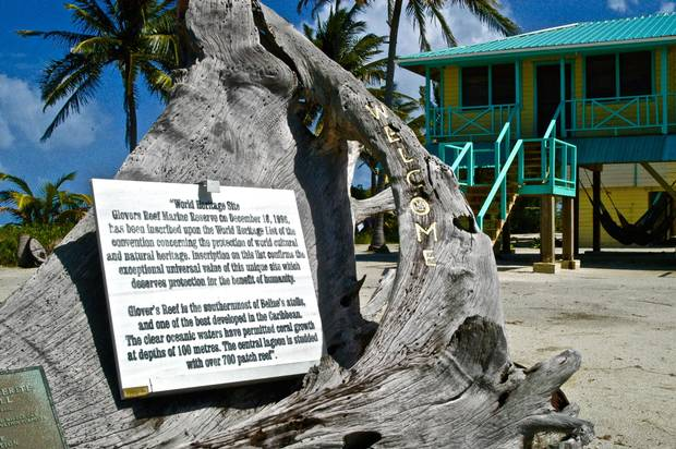 Middle Caye is home to a research station, a government fishery office and an observation tower with views to snorkel sites and neighbouring islets on Glover's Reef.