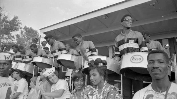 A steel band performs during Caribana festival on Centre Island in Toronto on Aug. 5, 1967. (John McNeill/The Globe and Mail)