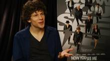 Jesse Eisenberg during an interview with Romina Puga of Univision News.