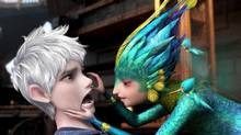 "This image released by Paramount Pictures shows Jack Frost, voiced by Chris Pine, left, and Tooth, voiced by Isla Fisher in a scene from ""Rise of the Guardians."" (Courtesy of DreamW/AP)"