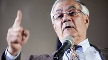 Representative Barney Frank, a Democrat from Massachusetts, speaks at a news conference in Newton, Mass., on Nov. 28, 2011. (Kelvin Ma/Bloomberg/Kelvin Ma/Bloomberg)