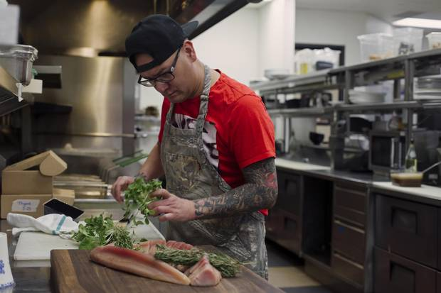 Chef Shane Chartrand in his kitchen at Sage restaurant in Enoch Cree First Nation, Alberta on Tuesday, January 30, 2018.