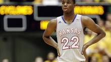 FILE - In this Jan. 13, 2014, file photo, Kansas guard Andrew Wiggins looks on during a break in the second half of an NCAA college basketball game against Iowa State in Ames, Iowa. (Charlie Neibergall/AP)
