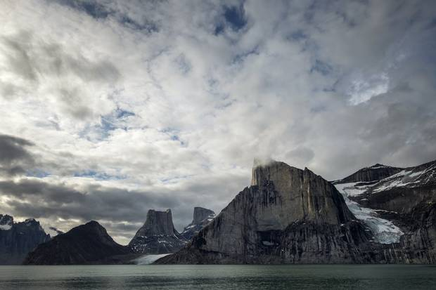 Sam Ford Fjord, 320 km southeast of Pond Inlet on the northeast coast of Baffin Island, where Inuit still hunt for whales and narwhals. Ford was a well-known Inuit linguist killed in a helicopter crash.