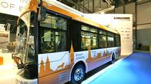 A fully electric bus at the International Association of Public Transport (UITP) exhbition in Geneva that uses Bombardier's wireless electric technology, called Primove. (Antje Dohrn/Bombardier)