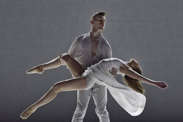 A scene from Mehdi Walerski's minimalist Romeo and Juliet, danced by Ballet BC and the Arts Umbrella Dance Company at the Queen Elizabeth Theatre in Vancouver.