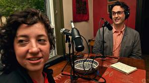 JP Davidson and his collaborator Elah Feder broadcast their podcast, I Like You, out of Elah's Toronto home. They are photographed at the kitc