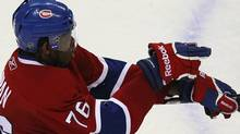 Montreal Canadiens P.K. Subban celebrates his game winning goal against the Chicago Blackhawks during overtime NHL hockey action in Montreal, April 5, 2011. (CHRISTINNE MUSCHI/Reuters)