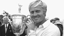 Jack Nicklaus holds the U.S. Open trophy after his victory in Pebble Beach, Cal. in this June 18, 1972 photo. No one has won the Masters and the U.S. Open in the same year since Jack Nicklau s in 1972 and the feat has only been accomplished five times since the Masters w as first played in 1934 (AP)