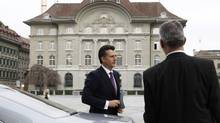 Philipp Hildebrand stepped down Monday from his post as Swiss National Bank chief after he was unable to prove he did not know that his wife bought some $500,000 in U.S. dollars a few weeks before the SNB decided to set a cap on the Swiss franc. (Michael Buholzer/Reuters/Michael Buholzer/Reuters)