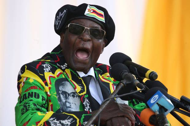 Nov. 4, 2017: Zimbabwe's President Robert Mugabe delivers a speech during a rally for the ruling ZANU-PF party in Bulawayo.