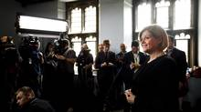 Ontario NDP leader Andrea Horwath takes questions from the media after she delivers her campaign platform during a campaign stop in Toronto on Thursday, May 22, 2014. (Nathan Denette/THE CANADIAN PRESS)