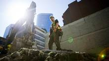 Scott Huisman, a Red Seal-certified carpenter with PCL Construction, is pictured on a job site in Vancouver on Friday. (Ben Nelms for The Globe and Mail)