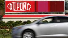 A view of the DuPont logo on a sign at the DuPont Chestnut Run Plaza facility near Wilmington, Delaware, in this April 17, 2012 file photo. (TIM SHAFFER/REUTERS)