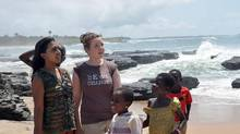 Degrassi actors Melinda Shankar, left, and Aislinn Paul with children in the coastal village of Asemkaw in Ghana. (Courtesy of Free the Children)