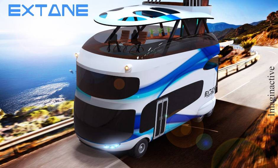 Vertically expandable four-storey RV that can fit in a parking spot