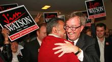 Mayor-elect Jim Watson celebrates victory on Oct. 25, 2010. (Dave Chan for The Globe and Mail)