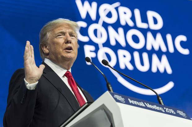 Jan. 26, 2018: U.S. President Donald Trump addresses a plenary session during the annual meeting of the World Economic Forum in Davos, Switzerland.