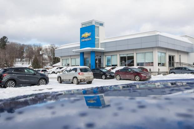 A view of the outside of the Bourgeois Chevrolet car dealership in Rawdon, Quebec, 70 kilometres north of Montreal, on Thursday, February 8, 2018. This dealership in a small town in Quebec sells the most electric and hybrid vehicles in Canada.