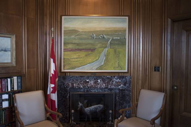 A Robert McInnis painting of chief justice McLachlin's hometown, Pincher Creek, hangs in the office of the Chief Justice of the Supreme Court of Canada.